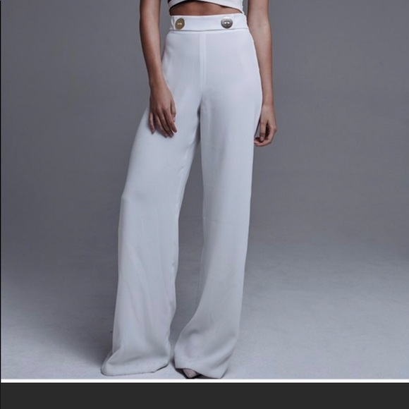 9db78135 Zara Pants | White Wide Leg Trousers With Two Gold Buttons | Poshmark